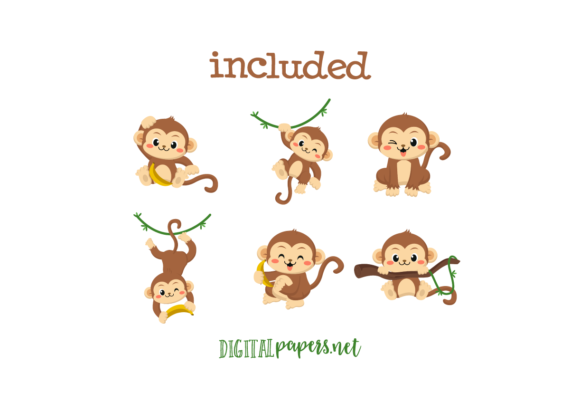 Cute Monkey Clipart Set Graphic Download