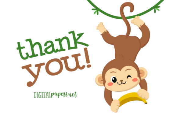 Cute Monkey Clipart Set Graphic Item