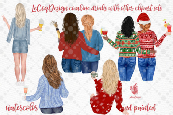 Drinks Clipart Champagne Bottles Graphic Item
