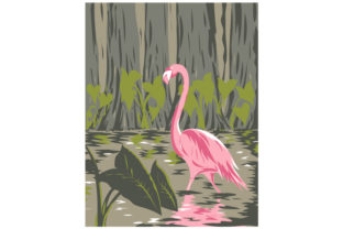 Print on Demand: Flamingo in Everglades National Park WPA Graphic Illustrations By patrimonio