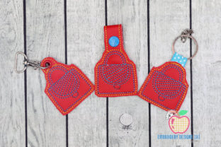 Girl Bag. ITH Snaptab Keyfob Accessories Embroidery Design By embroiderydesigns101