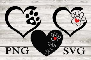 Hearts with Dog Paw Clipart Graphic Illustrations By JamSafariArt