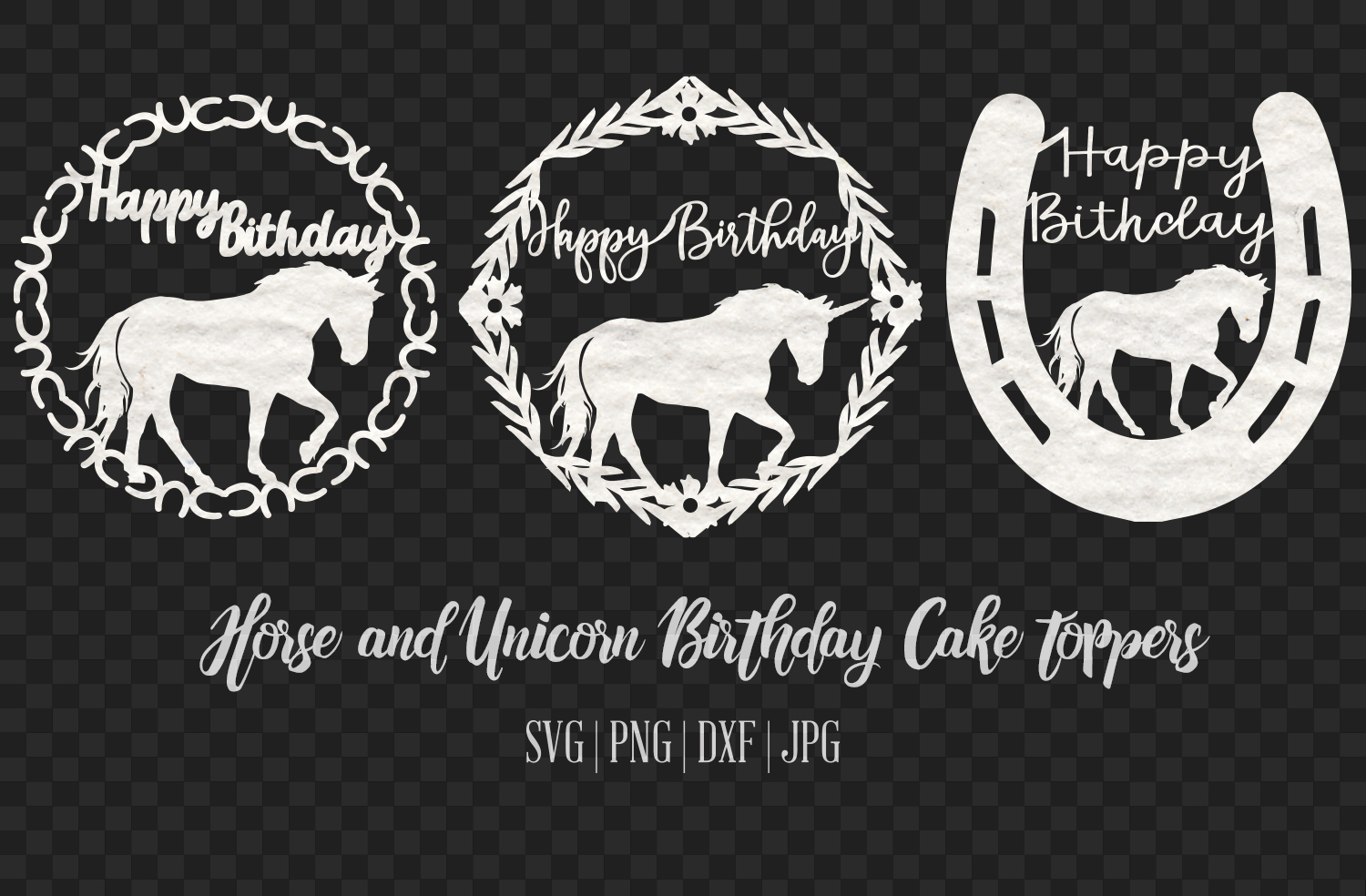 Horse and Unicorn Birthday Cake Topper SVG File