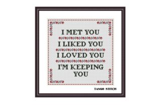 Print on Demand: I Met You Valentines Quote Cross Stitch Graphic Cross Stitch Patterns By Tango Stitch