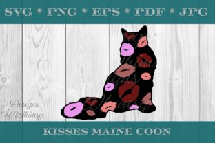 Maine Coon Cat Kisses Graphic Crafts By Designs of Whimsy
