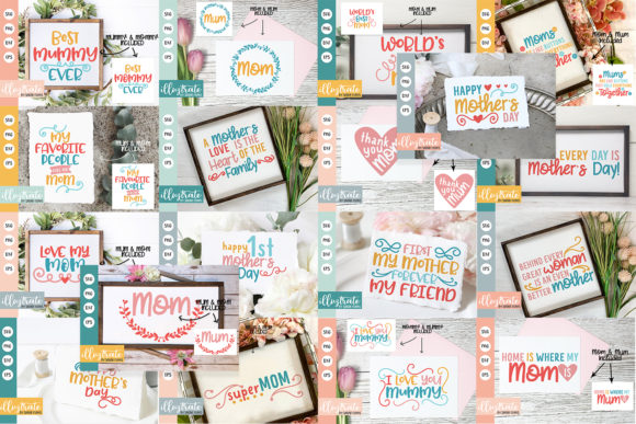 Print on Demand: Mother's Day SVG Cut File Bundle Graphic Crafts By illuztrate