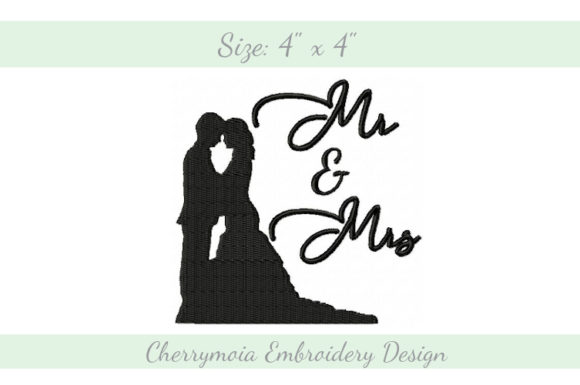 Mr. and Mrs. Wedding Designs Embroidery Design By CherrymoiaEmbroidery