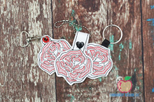 Red Rose ITH Keyfob Single Flowers & Plants Embroidery Design By embroiderydesigns101