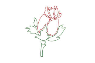 Rose Bean Stitch Single Flowers & Plants Embroidery Design By SweetDesign