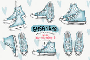 Print on Demand: Sneakers Clipart Bundle, Blue Sneakers Gráfico Crafts Por Chonnieartwork