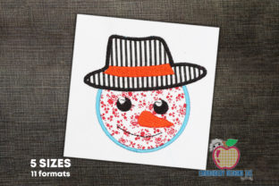 Snowman Head Applique Pattern Winter Embroidery Design By embroiderydesigns101