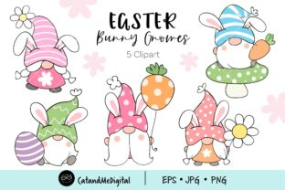 Sweet Easter Gnome Clipart. Graphic Illustrations By CatAndMe