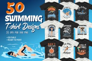 Print on Demand: Swimming T-shirt Designs Bundle Graphic Print Templates By Universtock