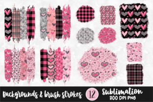 Valentine Backgrounds and Brush Strokes Graphic Print Templates By VR Digital Design