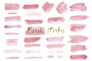 Watercolor Brush Strokes in Dark Pink Graphic Illustrations By point