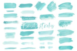 Watercolor Brush Strokes in Mint Graphic Illustrations By point