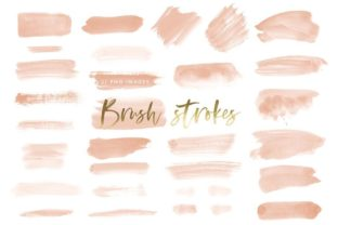 Watercolor Brush Strokes in Peach Graphic Illustrations By point