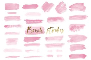 Watercolor Brush Strokes in Pink Graphic Illustrations By point