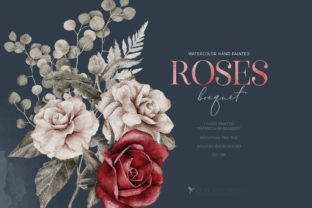 Print on Demand: Watercolor Roses Spring Bouquet Love PNG Graphic Illustrations By Busy May Studio