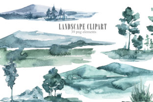 Print on Demand: Watercolor Landscape, Mountains Clipart Graphic Illustrations By Tiana Geo