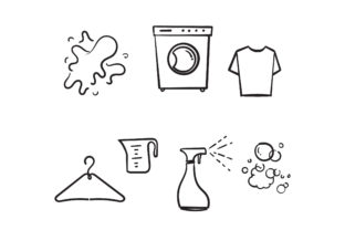 Print on Demand: Doodle Simple Set of Laundry Graphic Icons By GwensGraphicstudio