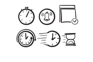 Print on Demand: Doodle Simple Set of Time Graphic Icons By GwensGraphicstudio