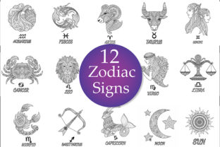 12 Zodiac Signs Coloring Pages Graphic Coloring Pages & Books Adults By somjaicindy