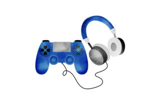 Watercolour Game Controller and Headphones Hobbies Craft Cut File By Creative Fabrica Crafts