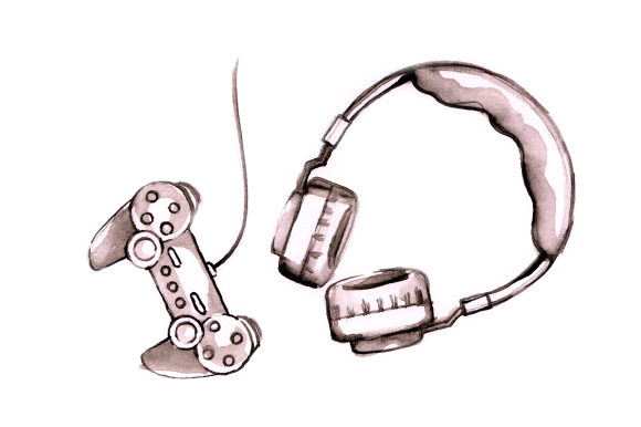 Watercolour Game Controller and Headphones Cut File