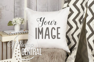 Children's Room White Pillow Mockup  Graphic Product Mockups By Mockup Central