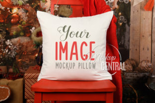 Christmas Square Mockup Pillow on Chair Graphic Product Mockups By Mockup Central