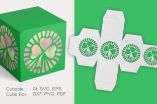 Print on Demand: Clover Cuttable Gift Box SVG Template Graphic 3D SVG By print.cut.hang 1