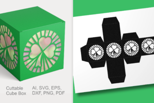 Print on Demand: Clover Cuttable Gift Box SVG Template Graphic 3D SVG By print.cut.hang 2