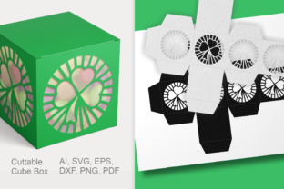 Print on Demand: Clover Cuttable Gift Box SVG Template Graphic 3D SVG By print.cut.hang 3