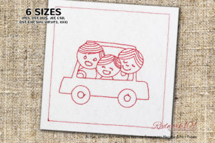 Cute Hapy Family in Car Lineart Design Family Quotes Embroidery Design By Redwork101