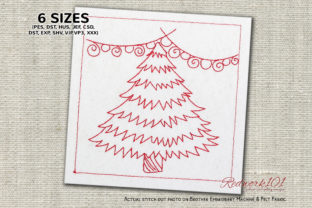 Decorative Christmas Tree Redwork Christmas Embroidery Design By Redwork101