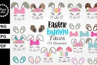 Print on Demand: Easter Bunny Faces Graphic Print Templates By ClazicArts
