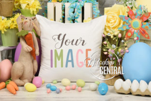 Easter Egg Spring Mockup Pillow  Graphic Product Mockups By Mockup Central