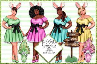 Print on Demand: Easter Fashion Girls Clipart Set Graphic Illustrations By TheGGShop