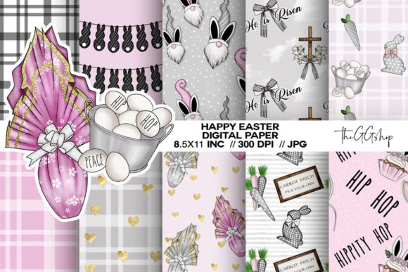 Print on Demand: Easter Scrapbook Digital Paper Graphic Backgrounds By TheGGShop