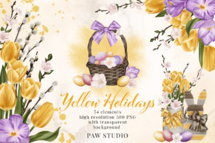 Print on Demand: Easter Spring Clipart Yellow Tulips Eggs Graphic Illustrations By PawStudio