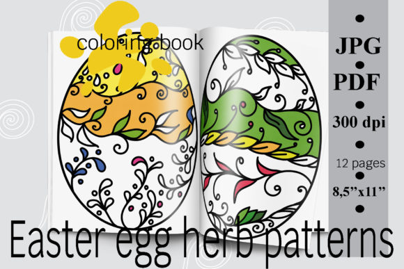 Easter Egg Herb Patterns Coloring Book Graphic By SunnyColoring · Creative  Fabrica