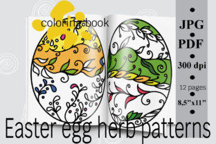 Easter Egg Herb Patterns Coloring Book Graphic Coloring Pages & Books Adults By SunnyColoring