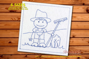 Farmer Boy Holding Rake in Field Redwork Farm & Country Embroidery Design By Redwork101