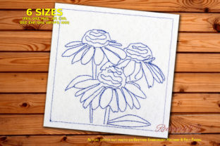Fresh Coneflower Lineart Design Single Flowers & Plants Embroidery Design By Redwork101