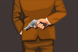 Print on Demand: Man in Suit Holding Gun in Back Vector Graphic Illustrations By aryo.hadi