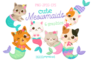 Print on Demand: Meowmaids - Gatitas Sirena Gráfico Ilustraciones Por DigitalPapers