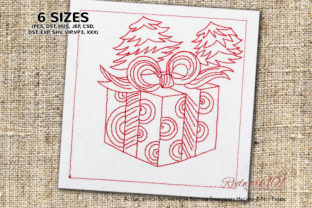 Present Gift Box with Christmas Tree Christmas Embroidery Design By Redwork101