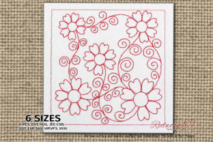 Seamless Flower Quilt Design Redwork Paisley Embroidery Design By Redwork101