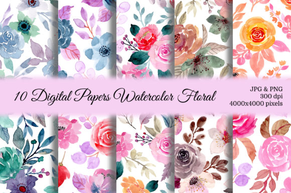 Print on Demand: Seamless Pattern Floral Watercolor 135 Graphic Patterns By asrulaqroni